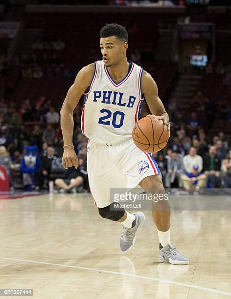Timothe LuwawuCabarrot of the Philadelphia 76ers dribbles the ball against the Utah Jazz at Wells Fargo Center on November 7 2016 in Philadelphia...