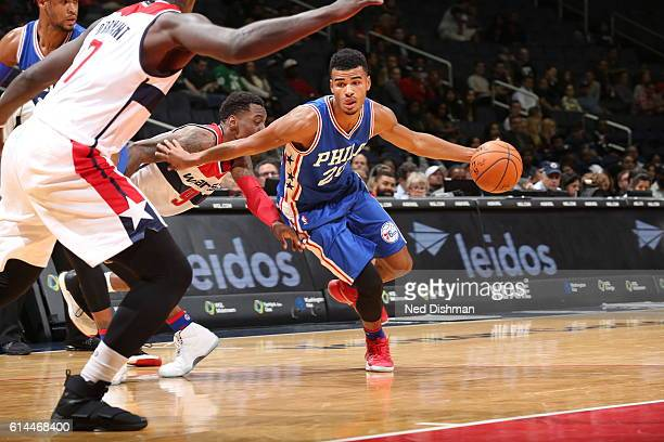 Timothe LuwawuCabarrot of the Philadelphia 76ers drives to the basket against the Washington Wizards during a preseason game on October 13 2016 at...