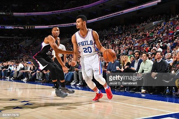 Timothe LuwawuCabarrot of the Philadelphia 76ers drives to the basket against the Los Angeles Clippers at Wells Fargo Center on January 24 2017 in...