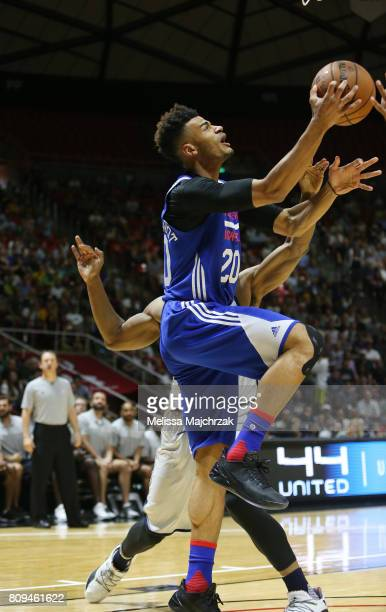 Timothe LuwawuCabarrot of the Philadelphia 76ers goes for a lay up against the Utah Jazz on July 5 2017 during the 2017 NBA Utah Summer League game...