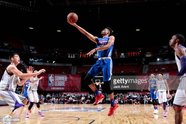 Timothe LuwawuCabarrot of the Philadelphia 76ers goes for a lay up during the game against the Los Angeles Lakers during the 2017 Las Vegas Summer...