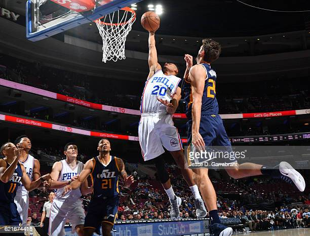Timothe LuwawuCabarrot of the Philadelphia 76ers goes up for the dunk against the Utah Jazz during a game at the Wells Fargo Center on November 7...
