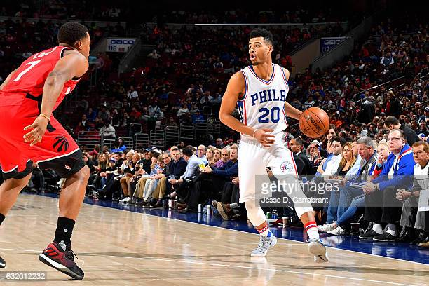 Timothe LuwawuCabarrot of the Philadelphia 76ers handles the ball during the game against the Toronto Raptors on January 18 2017 at Wells Fargo...