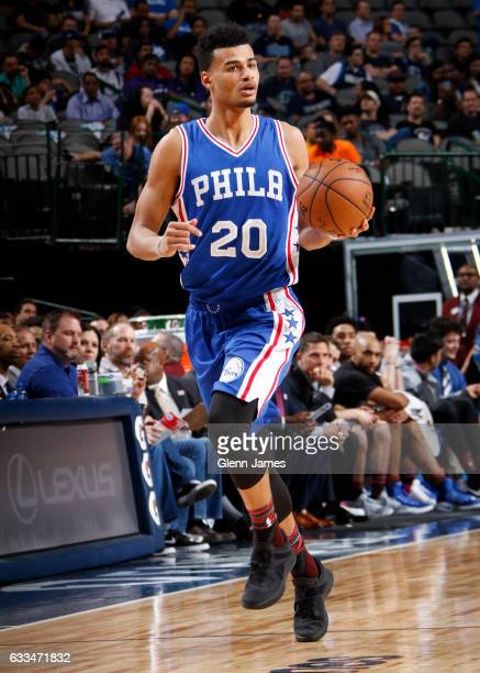 Timothe LuwawuCabarrot of the Philadelphia 76ers handles the ball against the Dallas Mavericks on February 1 2017 at the American Airlines Center in...