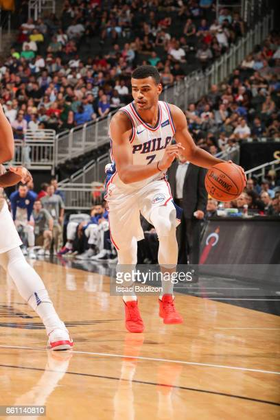 Timothe LuwawuCabarrot of the Philadelphia 76ers handles the ball during the preseason game against the Miami Heat on October 13 2017 at Sprint...
