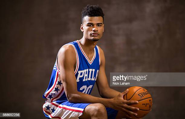Timothe LuwawuCabarrot of the Philadelphia 76ers poses for a portrait during the 2016 NBA Rookie Photoshoot at Madison Square Garden Training Center...