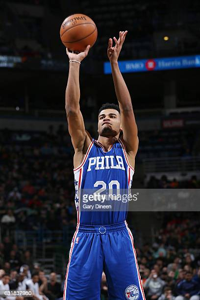 Timothe LuwawuCabarrot of the Philadelphia 76ers shoots a free throw against the Milwaukee Bucks during the game on January 16 2017 at the BMO Harris...