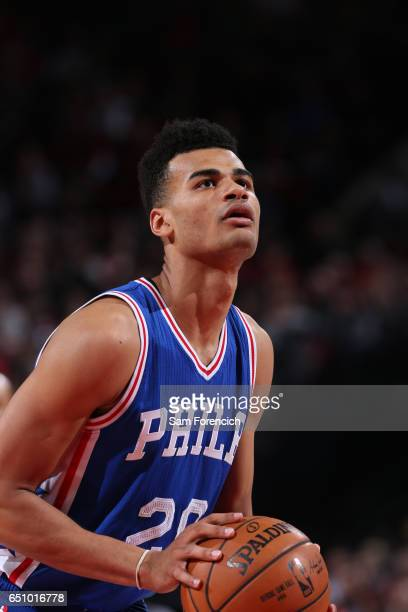 Timothe LuwawuCabarrot of the Philadelphia 76ers shoots a free throw during the game on March 9 2017 at the Moda Center in Portland Oregon NOTE TO...