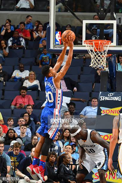Timothe LuwawuCabarrot of the Philadelphia 76ers shoots the ball against the Memphis Grizzlies in a preseason game on October 11 2016 at FedEx Forum...