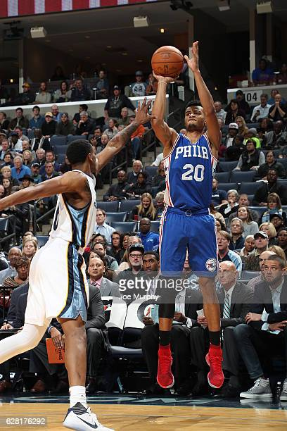 Timothe LuwawuCabarrot of the Philadelphia 76ers shoots the ball against the Memphis Grizzlies on December 6 2016 at FedExForum in Memphis Tennessee...
