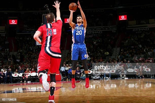 Timothe LuwawuCabarrot of the Philadelphia 76ers shoots the ball against the Washington Wizards on January 14 2017 at Verizon Center in Washington DC...