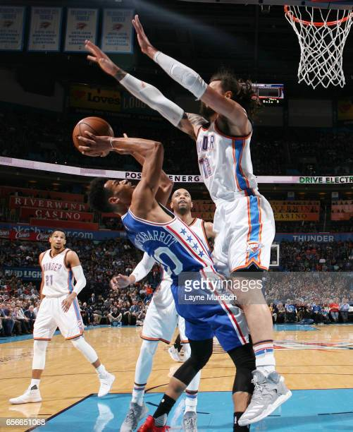 Timothe LuwawuCabarrot of the Philadelphia 76ers shoots the ball against the Oklahoma City Thunder during the game on March 22 2017 at Chesapeake...