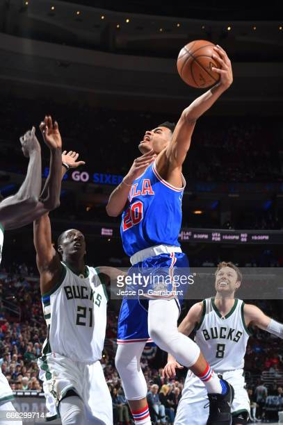 Timothe LuwawuCabarrot of the Philadelphia 76ers shoots the ball against the Milwaukee Bucks on April 8 2017 at Wells Fargo Center in Philadelphia...