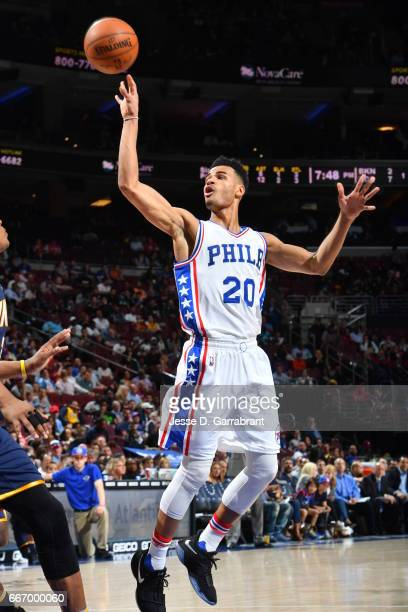 Timothe LuwawuCabarrot of the Philadelphia 76ers shoots the ball against the Indiana Pacers at Wells Fargo Center on April 10 2017 in Philadelphia...