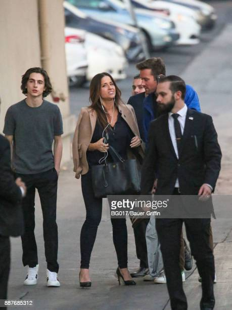 Timothee Chalamet and Armie Hammer are seen at 'Jimmy Kimmel Live' on December 06 2017 in Los Angeles California