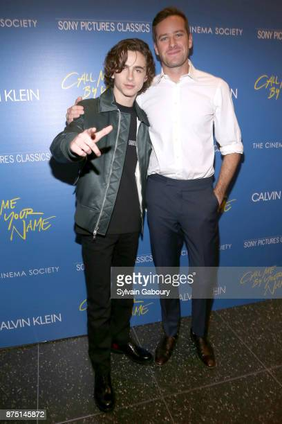 Timothee Chalamet and Armie Hammer attend Calvin Klein and The Cinema Society host a screening of Sony Pictures Classics' 'Call Me By Your Name' on...