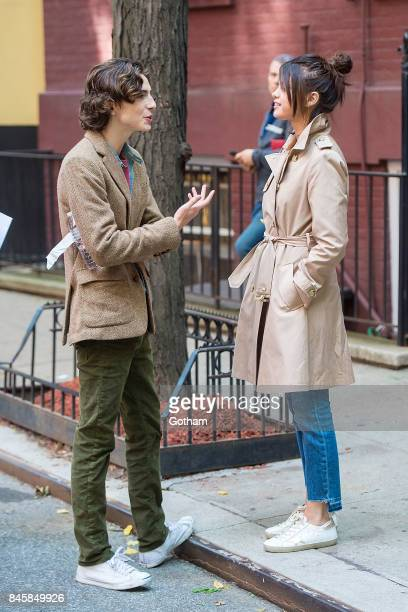 Timothee Chalamet and Selena Gomez are seen filming a Woody Allen filmin the West Village on September 11 2017 in New York City