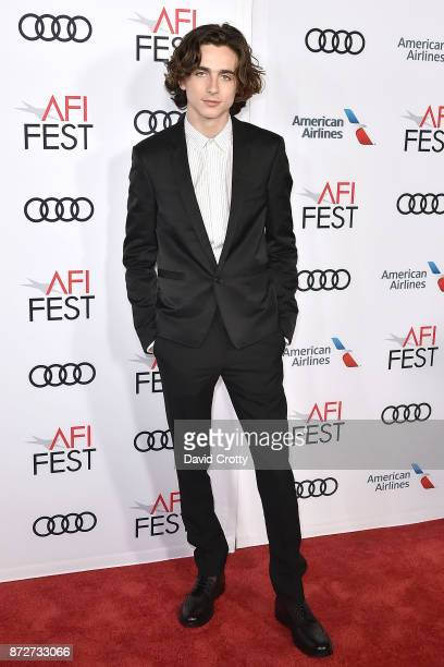 Timothee Chalamet attends the AFI FEST 2017 Premiere Of 'Call Me By Your Name' Arrivals at TCL Chinese Theatre on November 10 2017 in Hollywood...