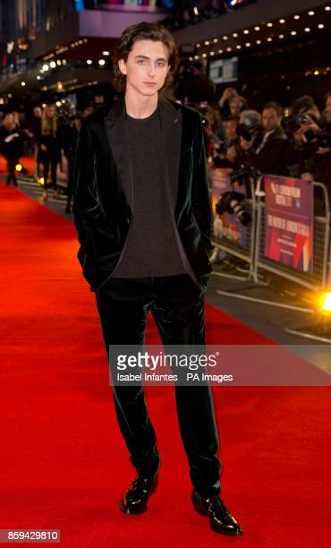 Timothee Chalamet attends the premiere of Call Me By My Name as part of the BFI London Film Festival at Odeon Leicester Square London