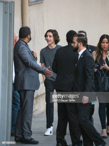 Timothee Chalamet is seen at 'Jimmy Kimmel Live' on December 06 2017 in Los Angeles California