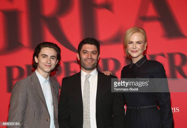 Timothee Chalamet Jake Silverstein and Nicole Kidman at The New York Times Magazine Celebrates 'The Great Performers Issue' 2017 on December 7 2017...