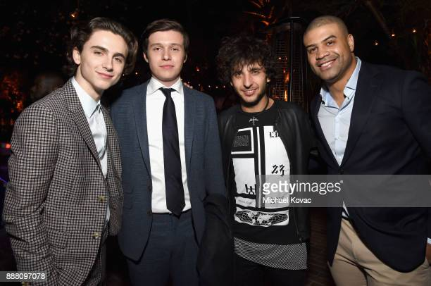 Timothee Chalamet Nick Robinson guest and Shawne Merriman attend the 2017 GQ Men of the Year Party at Chateau Marmont on December 7 2017 in Los...