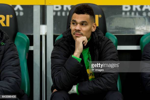 Timothee Kolodziejczak Kolo of Moenchengladbach sits on the bench during the Bundesliga match between Borussia Moenchengladbach and RB Leipzig at...