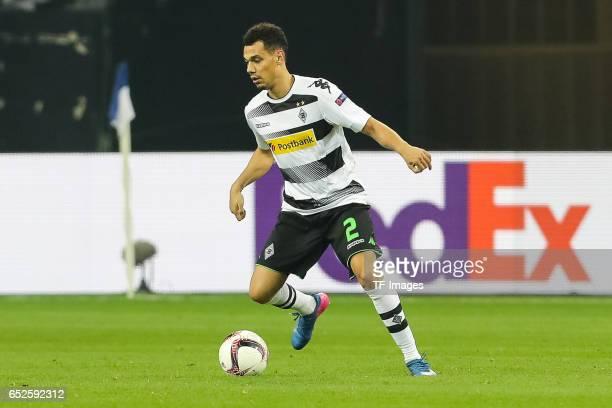 Timothee Kolodziejczak of Borussia Moenchengladbach controls the ball during the UEFA Europa League Round of 16 first leg match between FC Schalke 04...