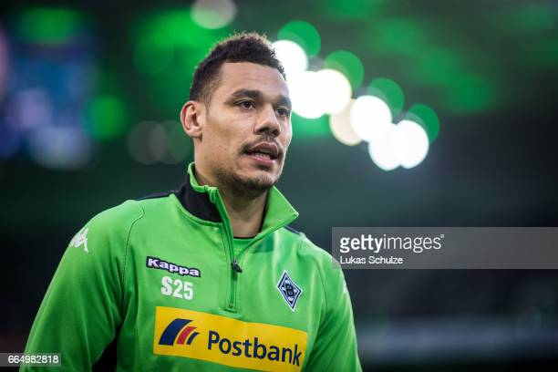 Timothee Kolodziejczak of Moenchengladbach looks up prior to the Bundesliga match between Borussia Moenchengladbach and Hertha BSC at BorussiaPark on...