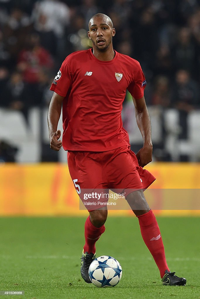 Timothee Kolodziejczak of Sevilla in action during the UEFA Champions League group E match between Juventus and Sevilla FC on September 30, 2015 in Turin, Italy.