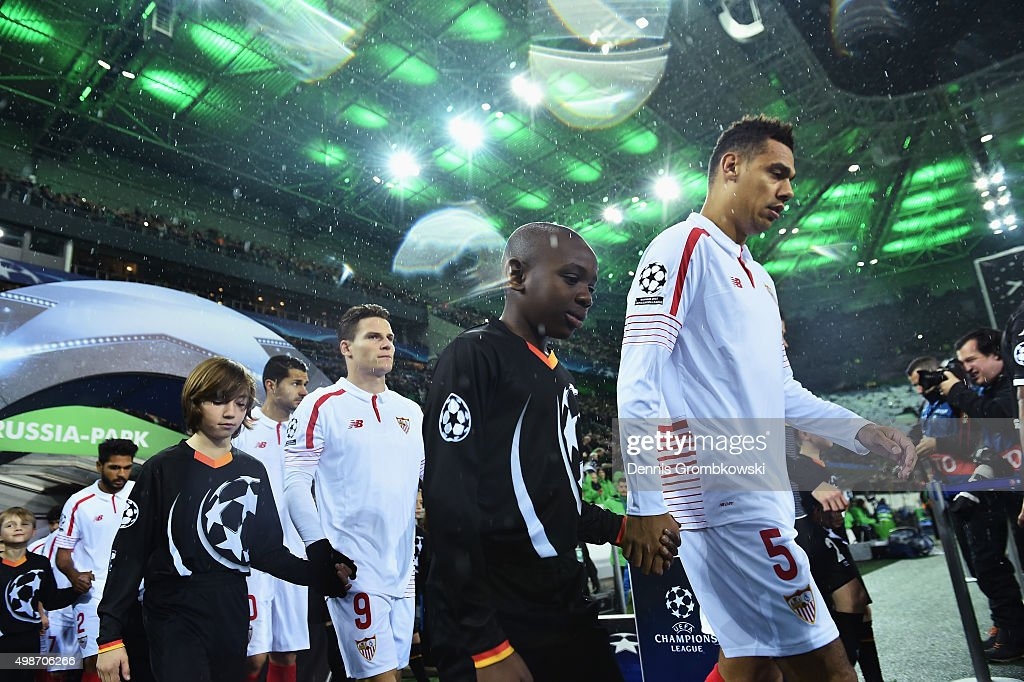 Timothee Kolodziejczak of Sevilla (5) walks onto the pitch with team mates the UEFA Champions League Group D match between Borussia Moenchengladbach and Sevilla at Borussia-Park on November 25, 2015 in Moenchengladbach, Germany.