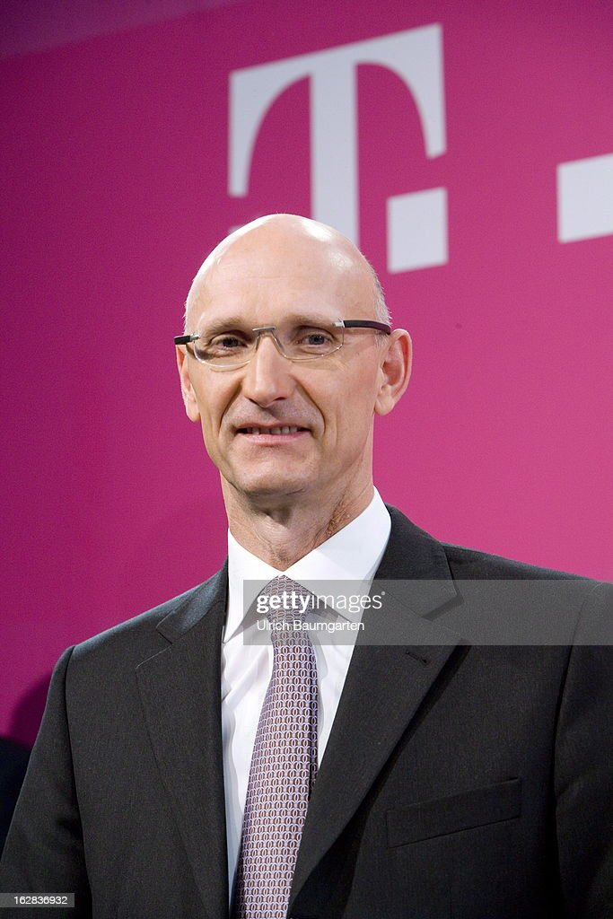 Timotheus Hoettges, designated CEO and current financial chairman of the Deutsche Telekom AG, after the annual press conference to announce the 2012 financial results on February 28, 2013 in Bonn, Germany. Deutsche Telekom announced a net loss of 5.25 billion euros for 2012, primarily due to merger-related writedowns in the United States. Chief Executive Rene Obermann also announced that, in spite of the decline in underlying profits, targets had been met for 2012 with stable revenues, allowing the company to maintain its planned dividend.