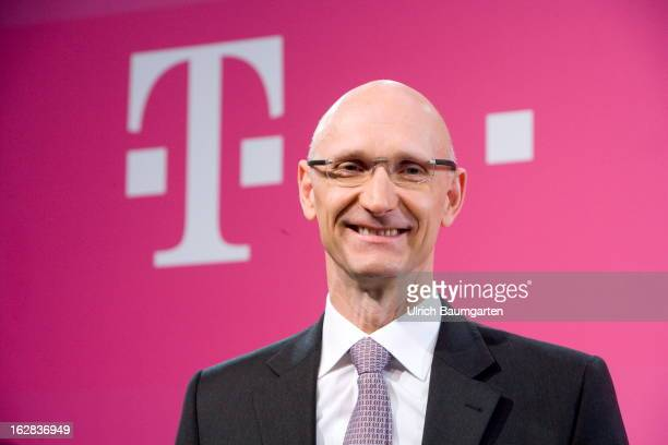 Timotheus Hoettges designated CEO and current financial chairman of the Deutsche Telekom AG after the annual press conference to announce the 2012...