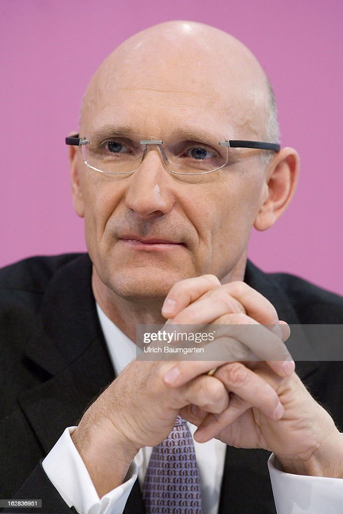 Timotheus Hoettges, designated CEO and current financial chairman of the Deutsche Telekom AG, during the annual press conference to announce the 2012 financial results on February 28, 2013 in Bonn, Germany. Deutsche Telekom announced a net loss of 5.25 billion euros for 2012, primarily due to merger-related writedowns in the United States. Chief Executive Rene Obermann also announced that, in spite of the decline in underlying profits, targets had been met for 2012 with stable revenues, allowing the company to maintain its planned dividend.