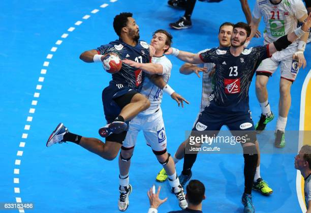 Timothey N'Guessan and Ludovic Fabregas of France in action during the 25th IHF Men's World Championship 2017 Final between France and Norway at...