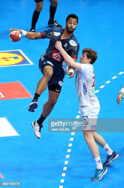 Timothey N'Guessan of France and Goran Johannessen of Norway in action during the 25th IHF Men's World Championship 2017 Final between France and...