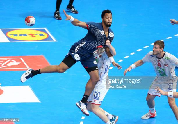 Timothey N'Guessan of France in action during the 25th IHF Men's World Championship 2017 Final between France and Norway at Accorhotels Arena on...