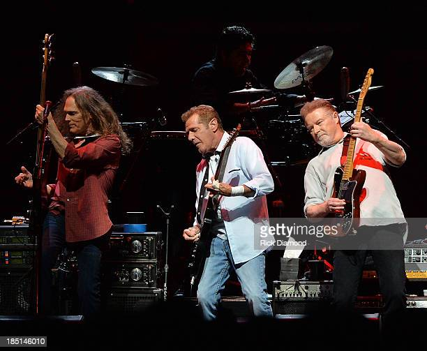 Timothy B Schmit Glen Frey and Don Henley of the Eagles perform during 'History Of The Eagles Live In Concert' at the Bridgestone Arena on October 16...