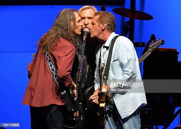 Timothy B Schmit Joe Walsh and Glen Frey of the Eagles perform during 'History Of The Eagles Live In Concert' at the Bridgestone Arena on October 16...
