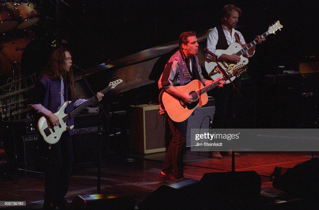 Timothy B Schmitt Glenn Frey and Don Felder of the Eagles perform at the Target Center in Minneapolis Minnesota on February 21 1995