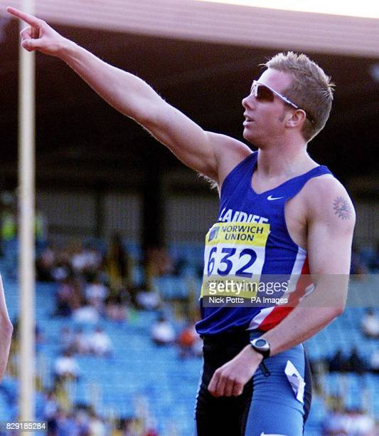 Timothy Benjamin from Cardiff AAC celebrates winning the 400 meters final during the Norwich Union European Trials AAA Championships at Alexandra...