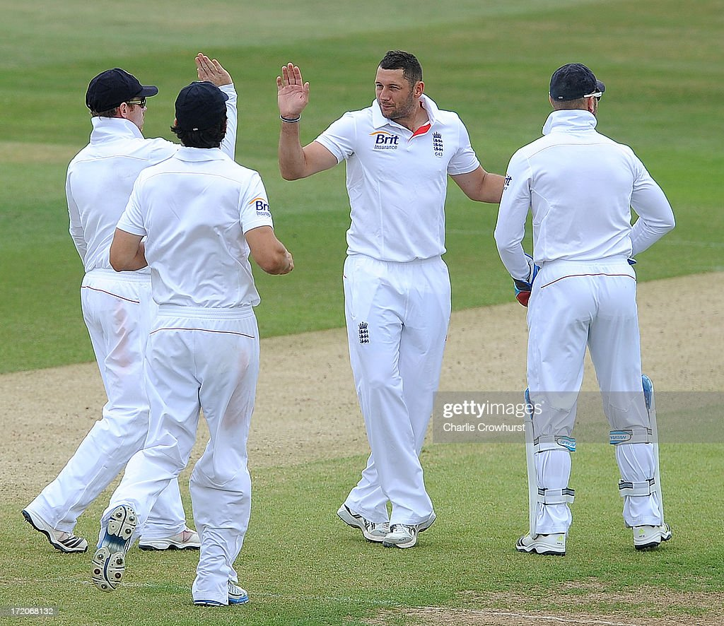 Timothy Bresnan of England celebrates his first wicket during the LV=Challenge Day 2 match between Essex and England at Ford County Ground on July 01, 2013 in Chelmsford, England.