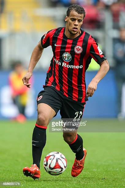 Timothy Chandler of Frankfurt controls the ball during the Bundesliga match between Eintracht Frankfurt and Hannover 96 at CommerzbankArena on April...