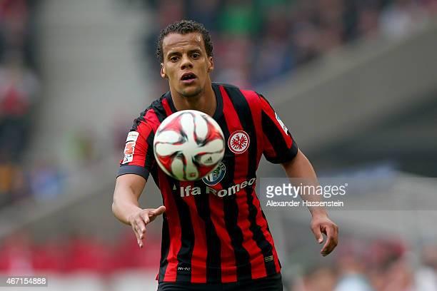 Timothy Chandler of Frankfurt runs witrh the ball during the Bundesliga match between VfB Stuttgart and Eintracht Frankfurt at MercedesBenz Arena on...