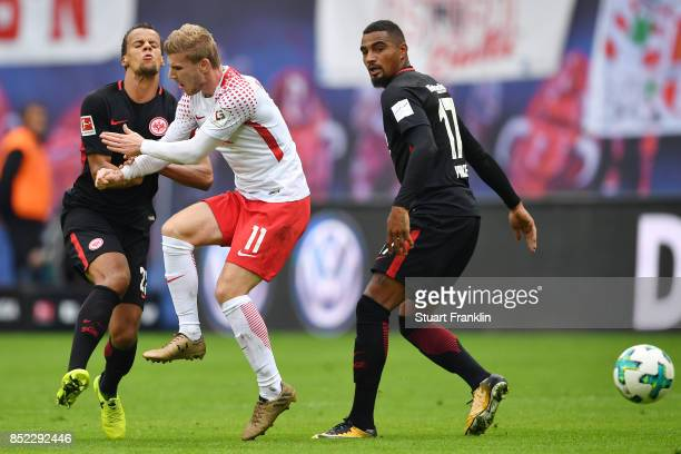 Timothy Chandler of Frankfurt Timo Werner of Leipzig and Kevin PrinceBoateng of Frankfurt during the Bundesliga match between RB Leipzig and...