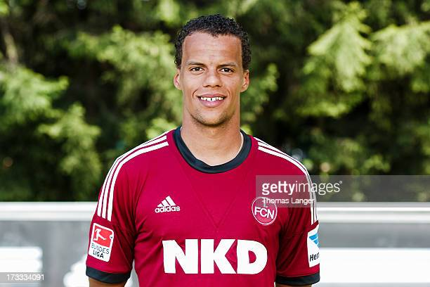 Timothy Chandler poses during the FC Nuernberg team presentation at Sportpark Valznerweiher on July 9 2013 in Nuremberg Germany