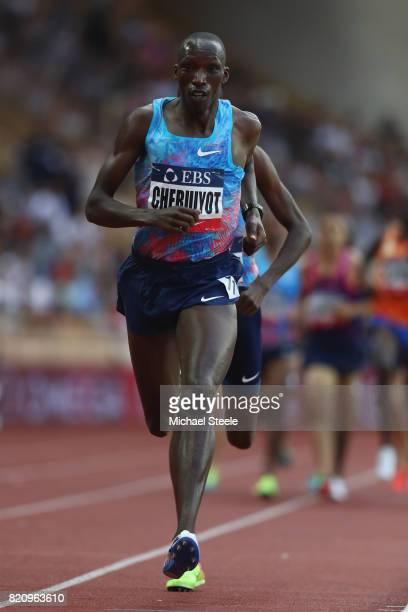 Timothy Cheruiyot of Kenya on his way to victory in the men's 1500m during the IAAF Diamond League Meeting Herculis on July 21 2017 in Monaco Monaco
