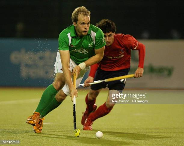 Timothy Cockram of Ireland and Ricardo Achondo of Chile during the FIH Olympic Games Qualifying Tournament at the Belfield Dublin