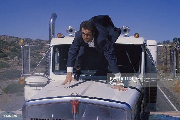 Timothy Dalton as James Bond does his own stunt work in the 007 action movie 'Licence to Kill' filmed in northwestern Mexico in 1988 This was...