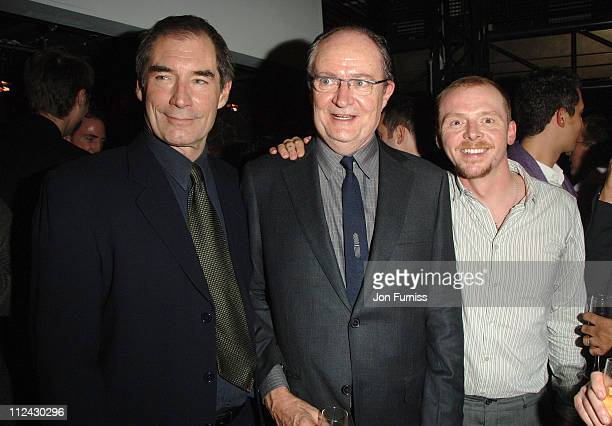 Timothy Dalton Jim Broadbent and Simon Pegg during 'Hot Fuzz' UK Film Premiere After Party at Sound in London Great Britain